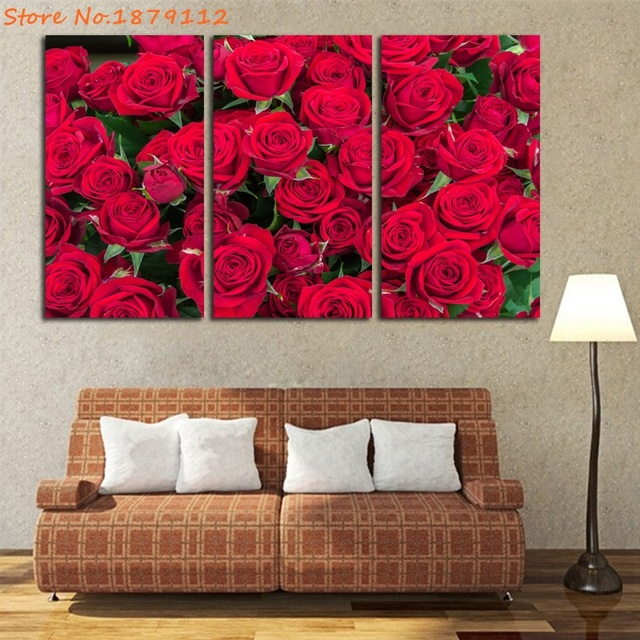 Red Rose Canvas Painting Amazing Flower Wall Art 3 Pieces HD Prints ...