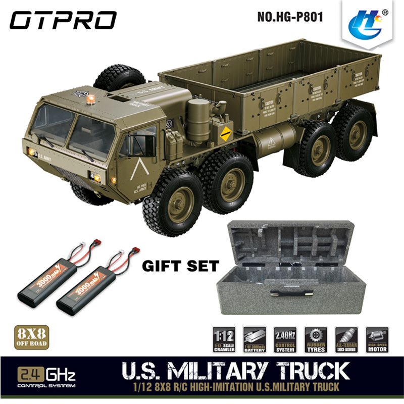 HG P801 1:12 2.4G 8*8 M983 739mm Rc voiture US armée militaire camion sans chargeur de batterie RC Distance 100 m 550 moteur brossé