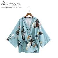 Vintage Loose Floral Print Split Kimono Cardigan 2017 Open Blouse Tunic Sashes Women Shirt Ladies Casual