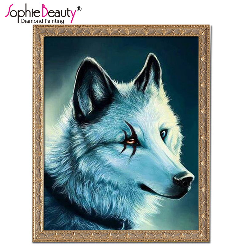 Sophie Beauty Home Diy Diamond Painting Cross Stitch Handcraft Embroidery Beads Moon Wolf Art Craft Sewing Needlework Mosaic Kit
