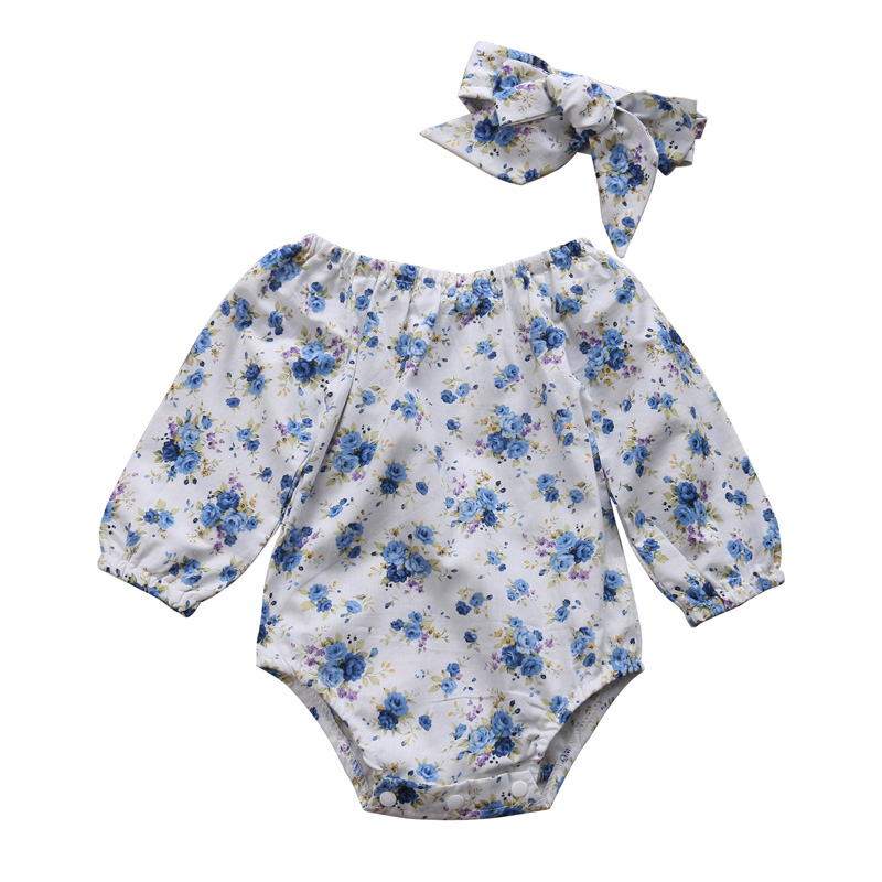 New Casual Newborn Kids Baby Girl Floral Clothes Long Sleeve Romper Jumpsuit O-Neck Headband Sunsuit Outfits