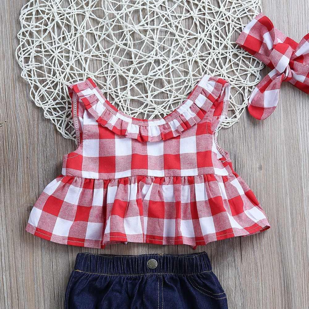 063cfbd8c ... Puseky Kids Toddler Baby Girls Clothing Ruffle Plaid Tops Shirt Demin  Bowknot Shorts Headband Summer Cute ...