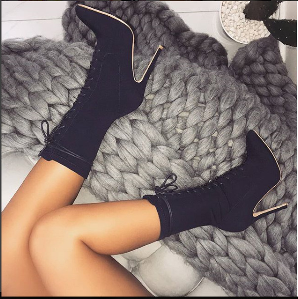 Boots women's autumn winter high heels lace up ladies shoes stretch fabric pointed toe stiletto sexy black mid calf boots woman
