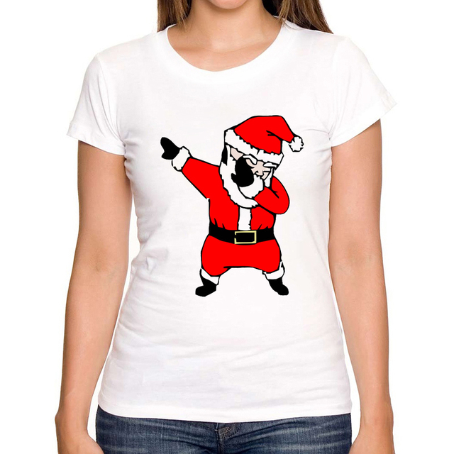 Funny Dabbing Santa Christmas Funny Design Women T-Shirt Summer Short Sleeve Tops New Arrival Casual Tee Shirts