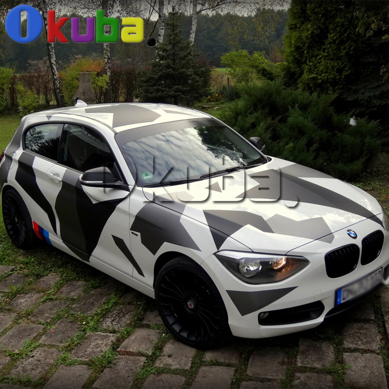 jumbo arctic snow camouflage vinyl car wrap black white. Black Bedroom Furniture Sets. Home Design Ideas