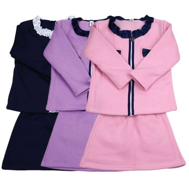 New Children Kids Autumn Winter Cotton Babies Girls Bowknot Design Clothing Set Fashionable Long Sleeve Coats + Skirts