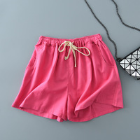 Free Shipping All Match Brand 2017 Fashion Summer Women S Candy Colored Linen Shorts Classic Comfortable