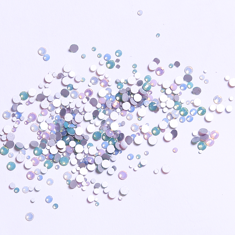 Mix Opal Colors Mix Sizes Glass Crystal Non Hotfix Flatback Rhinestones Nail Rhinestones Nails Accessorie Nail Art Decoration mix crystals of opal rhinestones for nail rhinestones on nails opal glass gems 3d nail art strass ongle decoration mjz1027