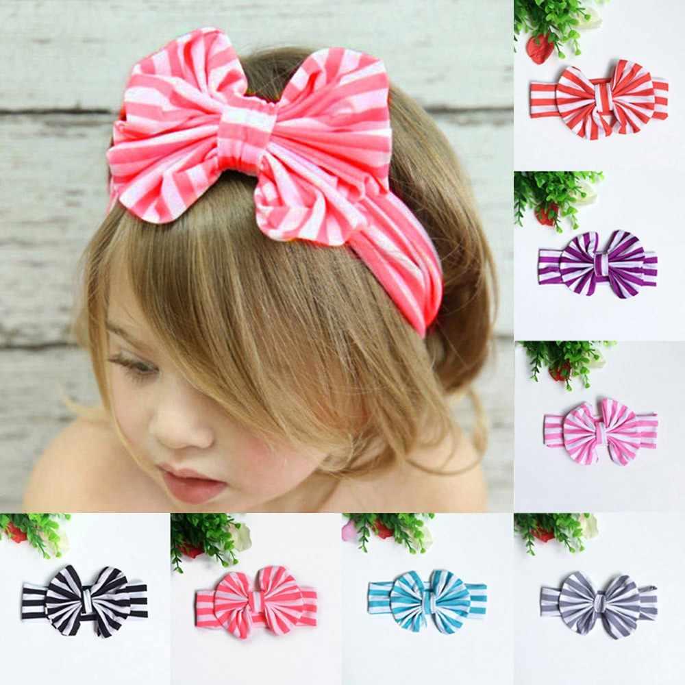 MUQGEW Лидер продаж одежда для малышей эластичные головные повязки с бантиком для волос для маленьких девочек Полосатые головные повязки на голову для малыша детские украшения для волос
