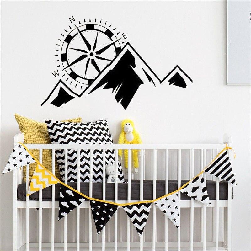 Mountain Range With Compass Nursery Kids Bedroom Boys Wall