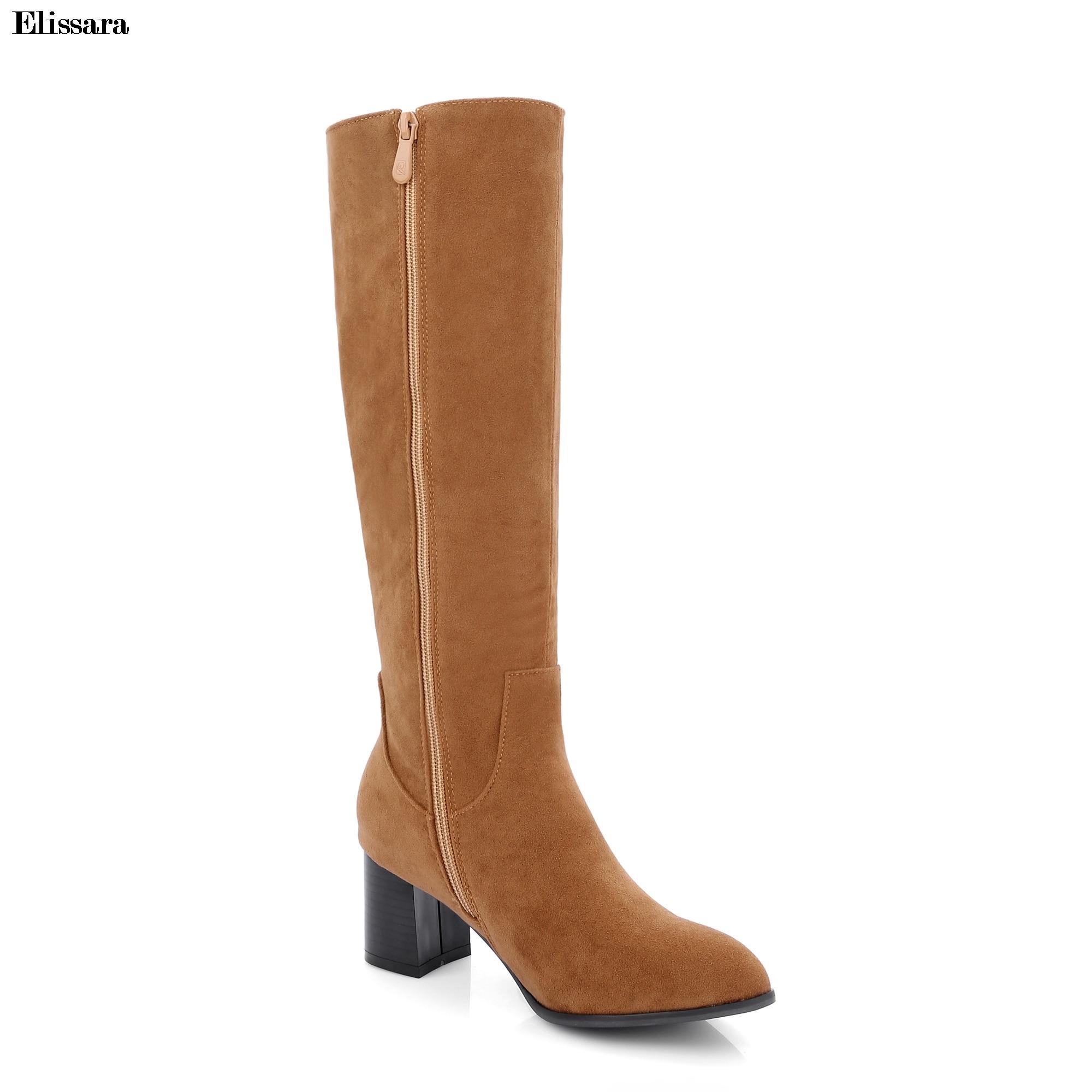 Negro Zapatos Faux Más Zip amarillo Las Rodilla gris 33 Elissara 45 Lana Suede Invierno Tamaño Botas De Mujeres CYtwvqZv