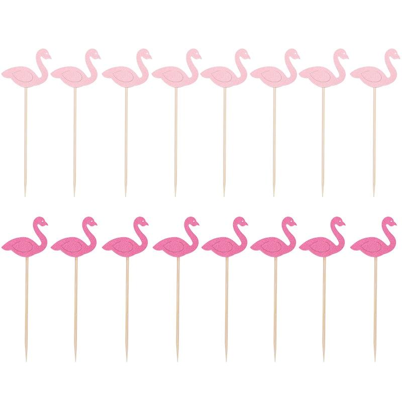 20Pcs Flamingo Cake Cupcake Topper Picks Cake Flags Kids Baby Shower Birthday Wedding Cake Decoration Flamingo Party Supplies 2