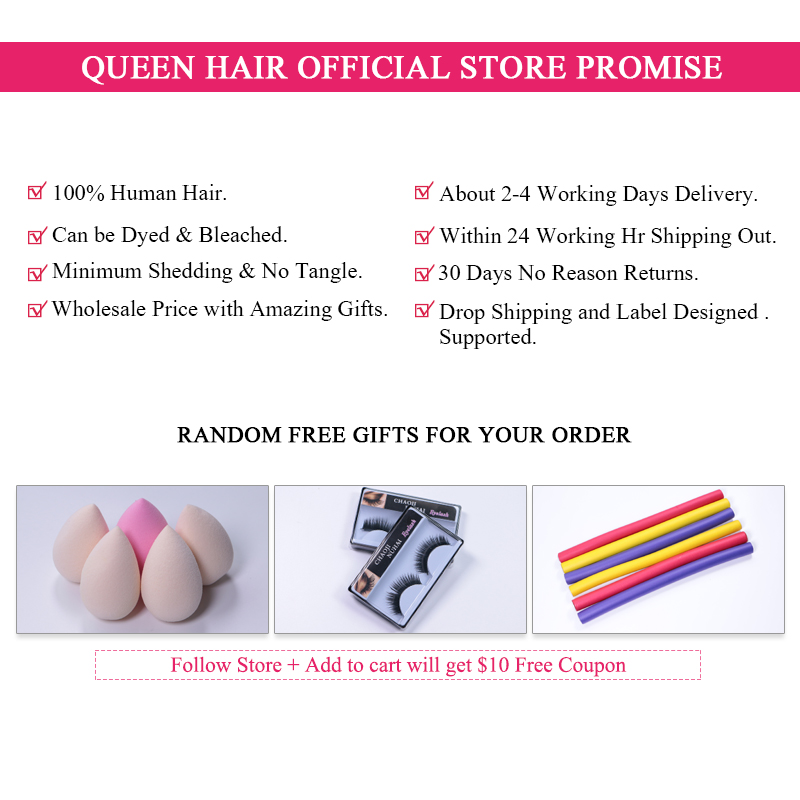Queen Hair Products Brazilian Body Wave Human Hair 3 Bundles Weaves - Menneskehår (sort) - Foto 6