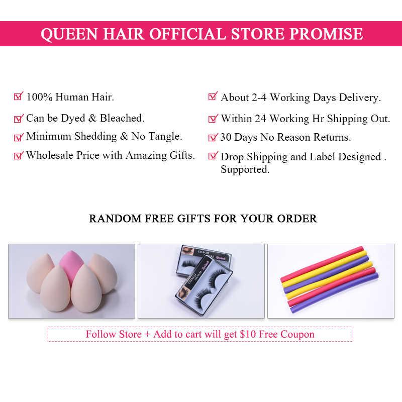 Koningin Haarproducten Braziliaanse Haar Weefsel Bundels Met Sluiting Body Wave Haarverlenging Maagd Menselijk Haar Weven Snelle Verzending