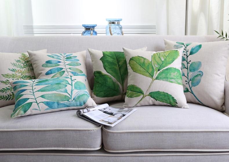 Green Plant Custom Cushion Covers Watercolor Leaf Decorative Pillow Cases  45X45cm 30X50cm Pillow Covers Bedroom Decor. Popular Bedroom Decorative Pillows Buy Cheap Bedroom Decorative