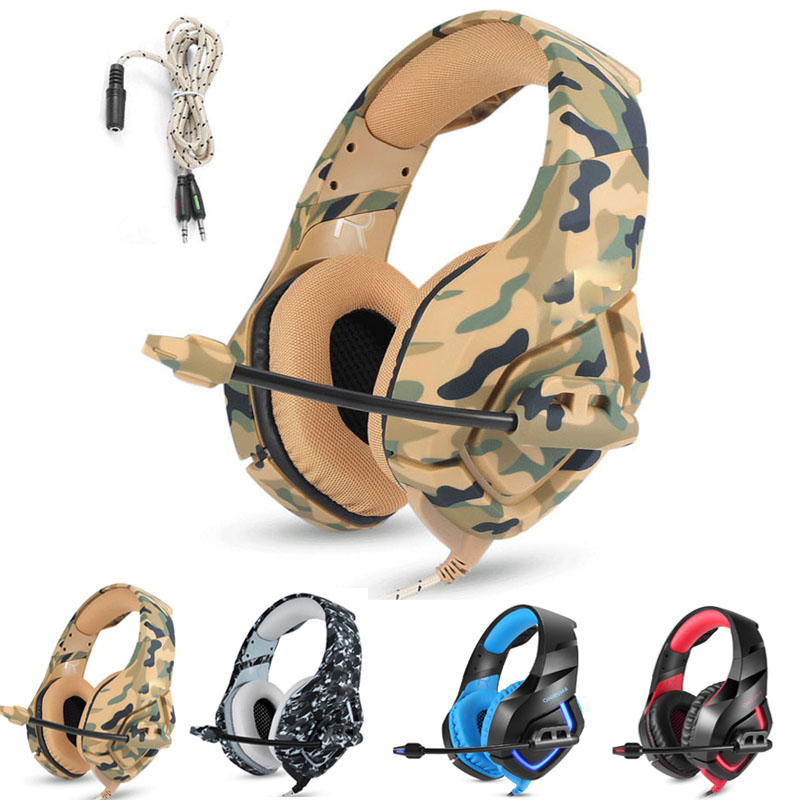 цена на K1 PS4 Camouflage Headset Gaming Headphones Over-ear Bass Gamer Earphones with MIC for PC Phone Xbox one Tablet casque