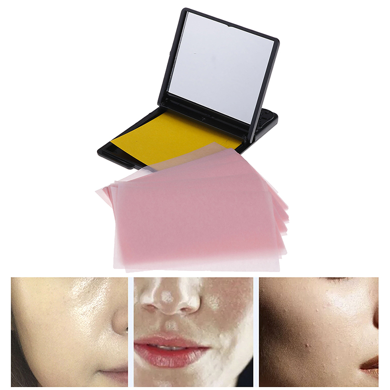 50pcs/pack Portable Facial Absorbent Paper Oil Control Wipes Absorbing Sheet Matcha Oily Face Blotting Matting Tissue With Mirro