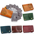 Vintage Genuine Leather Pouch ID Credit Card Wallet Cash Holder Organizer Case Box Pocket card holder Brand Fanmecy
