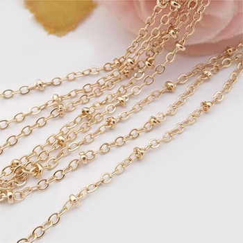 2 meters width 2MM 24K Champagne Gold Color Plated Copper Flat O Shape chain with Station Beads Necklace Chains цена 2017