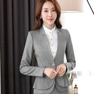 Image 2 - NAVIU Elegant and Fashion Women Blazers Autumn Temperament Long Sleeve Black Gray Jacket Office Ladies Plus Size Work Wear Coat