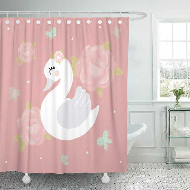 Shower Curtain With Hooks Pink Animal Swan Baby Girl Room
