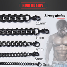 Personalized Men's Necklace Stainless Steel Cuban Link Chain Black Silver Gold Necklaces For Men 18-36″ Hip Hop Jewelry KNM09