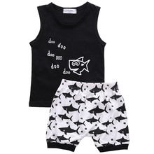 Baby Boy Clothes Set Summer Cotton Newborn Clothes Sleeveless Vest T-shirt Tops Shark Pattern Shorts Pants Infant Baby Clothing(China)