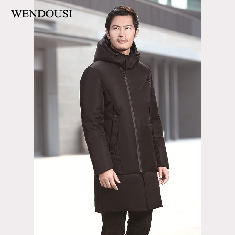 WENDOUSI Winter Thick Duck Down Jacket Men Long Knee Length Youth Thick Coat New Solid Color Hooded Tide Outerwear Parkas CH759