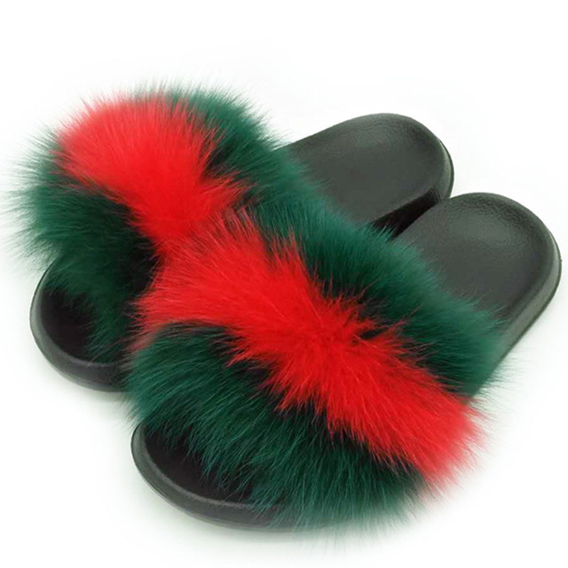 Women Summer Real Fox Fur Slides Women Non-slip Fluffy Fur Slippers Women Furry Slippers Ladies Cute Plush Fox Hair Slippers Hot 1