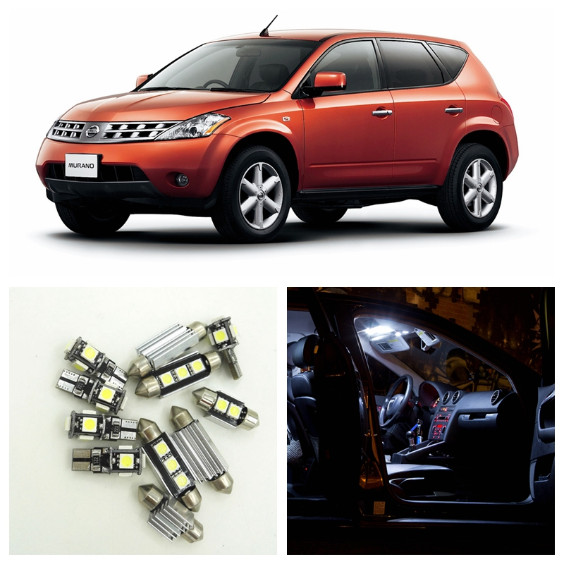13pcs White LED Light Bulbs Interior Package Kit For Nissan Murano 2003-2007 Map Dome Trunk License Plate Lamp Nissan-B-13 14pcs error free white canbus car led light bulbs interior package kit for 2002 2007 volvo v70 estate xc70 map dome trunk lamp