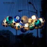 Girban бренд творческий махрово Стекло пузырь круглая люстра лампа современные лампы независимых Обеденная Cafe подвеской светильник