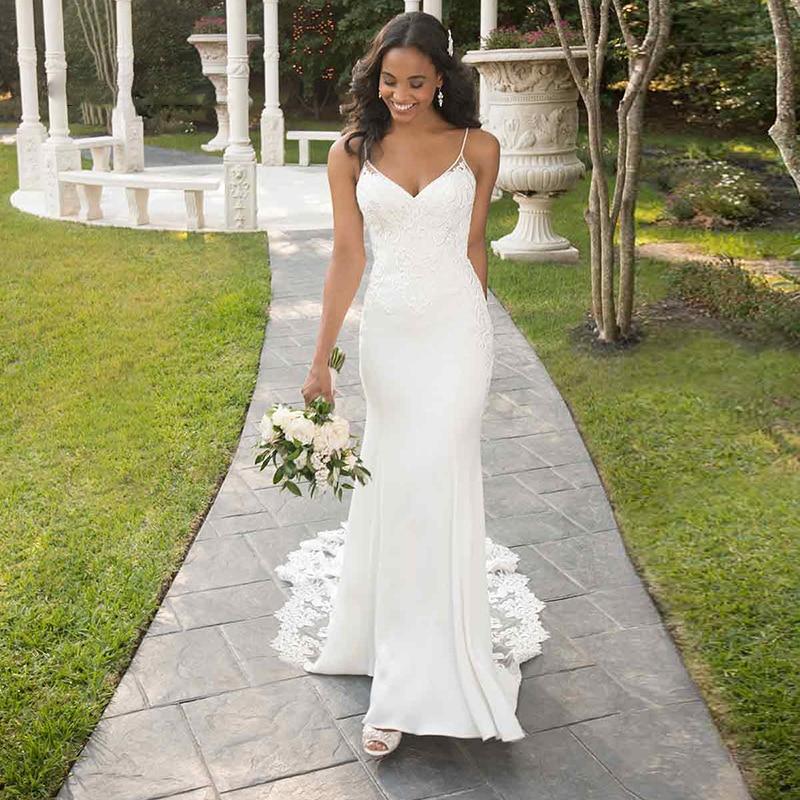 2019 élégant sirène robes de mariée Boho Appliques dentelle Sexy Spaghetti sangle dos nu robe de mariée robes de mariée