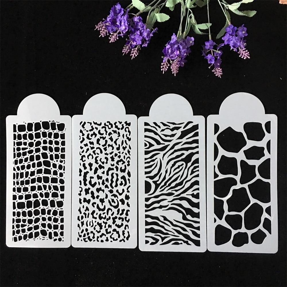 New 4Pcs/Set 26.5cm Flower Texture DIY Layering Stencils Wall Painting Scrapbook Coloring Embossing Album Decorative Template