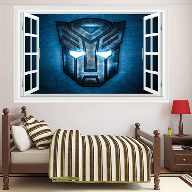 3D Transformers Sticker For Kids Bedroom Removable Anime Nursery Wall  Decals Fake Window Living Room Wall Decor