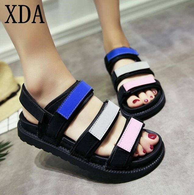 d81eab7f8b61 XDA Fashion Korean women beach Sandals Flat 2019 New Women Summer Beach  Patchwork Casual Open toe Sandals free shipping
