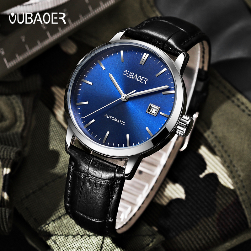 2018 New Men's WristWatch OUBAOER Stainless steel Casual Automatic Mechanical Watches Male reloj hombre