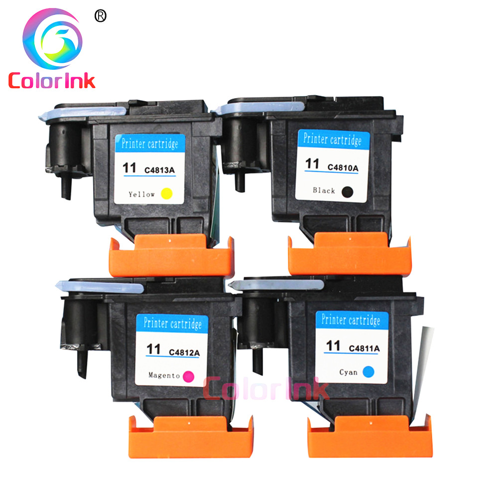 ColorInk 4pack C4810A C4811A C4812A C4813A Print head Printhead for HP 11 70 <font><b>100</b></font> <font><b>110</b></font> 111 120 500 510 500PS 800 815 820 printhead image