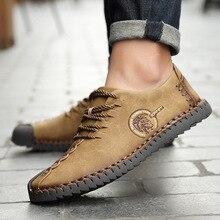 Gran oferta de zapatos informales para hombre, mocasines de piel con aberturas, zapatos Vintage hechos a mano para hombre, zapatos planos con cordones para hombre, mocasines, zapatos de talla grande 46