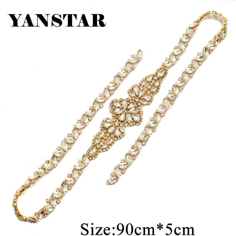 YANSTAR(30PCS) Bridal Sash Full Size Rhinestone Applique Crystal Rose Gold  For Wedding Dresses 4db3996a47b4