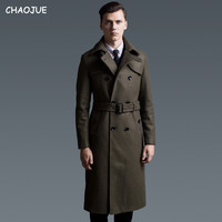 CHAOJUE Extra long woolen coat male British double breasted trenchcoat mens slim fit classic army green warm pea coat