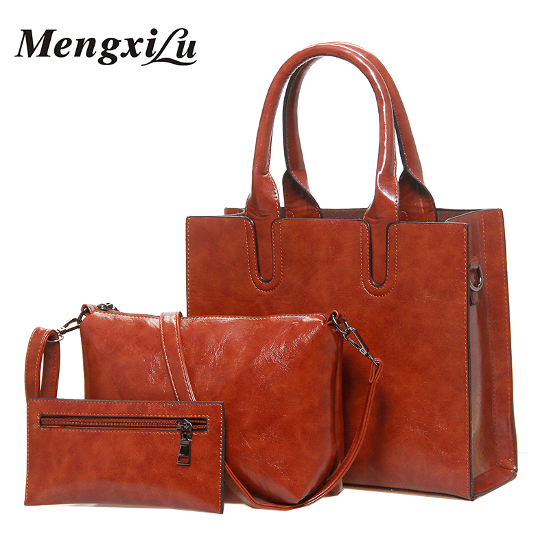 3 Pcs/Set Oil Wax Pu Leather Women Bag High Quality Casual Female Handbags Large Capacity Composite Bag Big Women Shoulder Bags miwind 2017 new women bag cow oil wax leather handbags letter v shoulder bags female luxury casual totes simple fashion portable