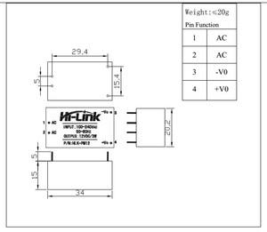 Image 5 - Free shipping 2 pcs/lot ac dc 220V to 12V 3W isolated mini power supply module HLK PM12 12v ac dc converter module