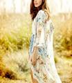 Весна лето новый женский цветочные женщин блузки леди мода шифон кимоно рубашку