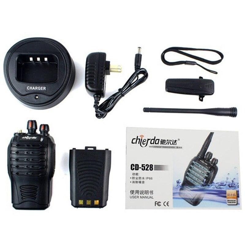 2 pcs Talkie Walkie CHIERDA CD-528 Portable Two Way Radio Antipoussière Étanche IP66 UHF 16CH 5 W Arrêter Le Bruit Moniteur Alarme d'urgence