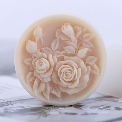 Silicone Mould 3d Round Shape Relief Rose Flower Pattern Soap Mold DIY Nordic Articraft Silica Gel Aroma Stone Mold