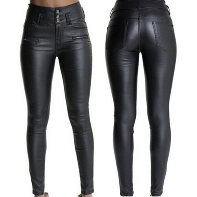 Spring autumn women PU leather trousers 2018 fashion Splice Tight pants High waist trousers Plus size Sexy female leather pants