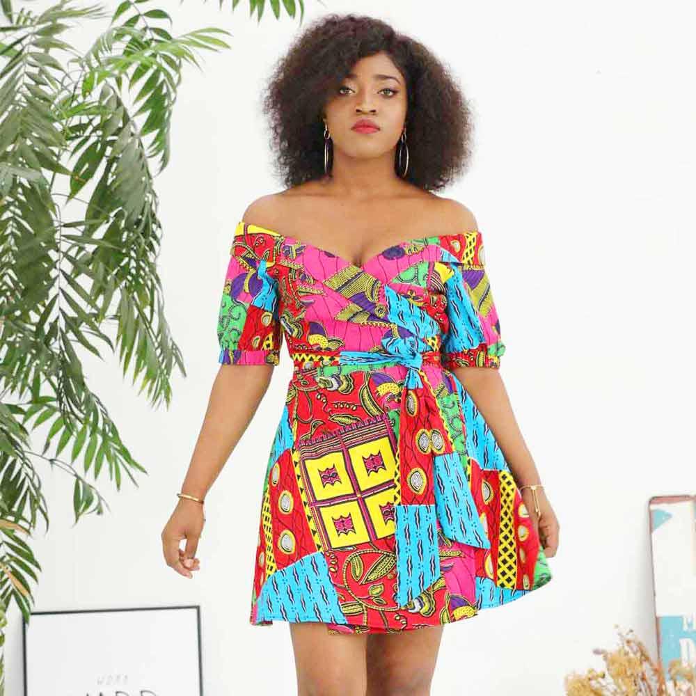 African Dresses For Women One Shoulder Dress Cotton Ankara Wax Print Clothes Party Dress Plus Size