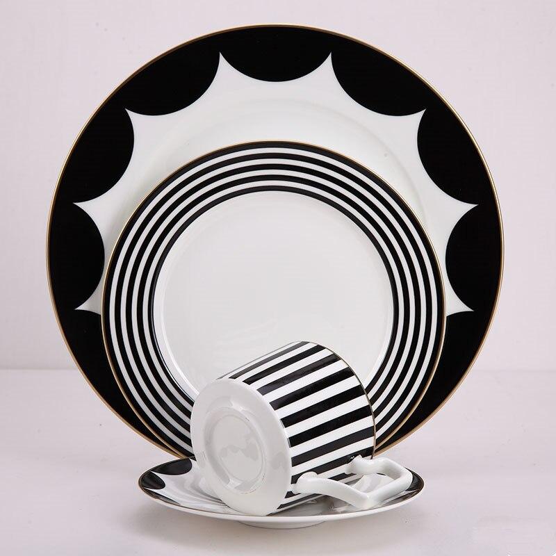 Dîner plaques ensemble porcelaine dîner ensemble Plats et plaques ensembles avec café mug Service plaques ustensiles De Table
