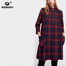 ROHOPO Long Sleeve Red Black Plaid Autumn Dress Vintage Female Preppy Fashion Baggy Slim Body Straight Dresses #XZ1859