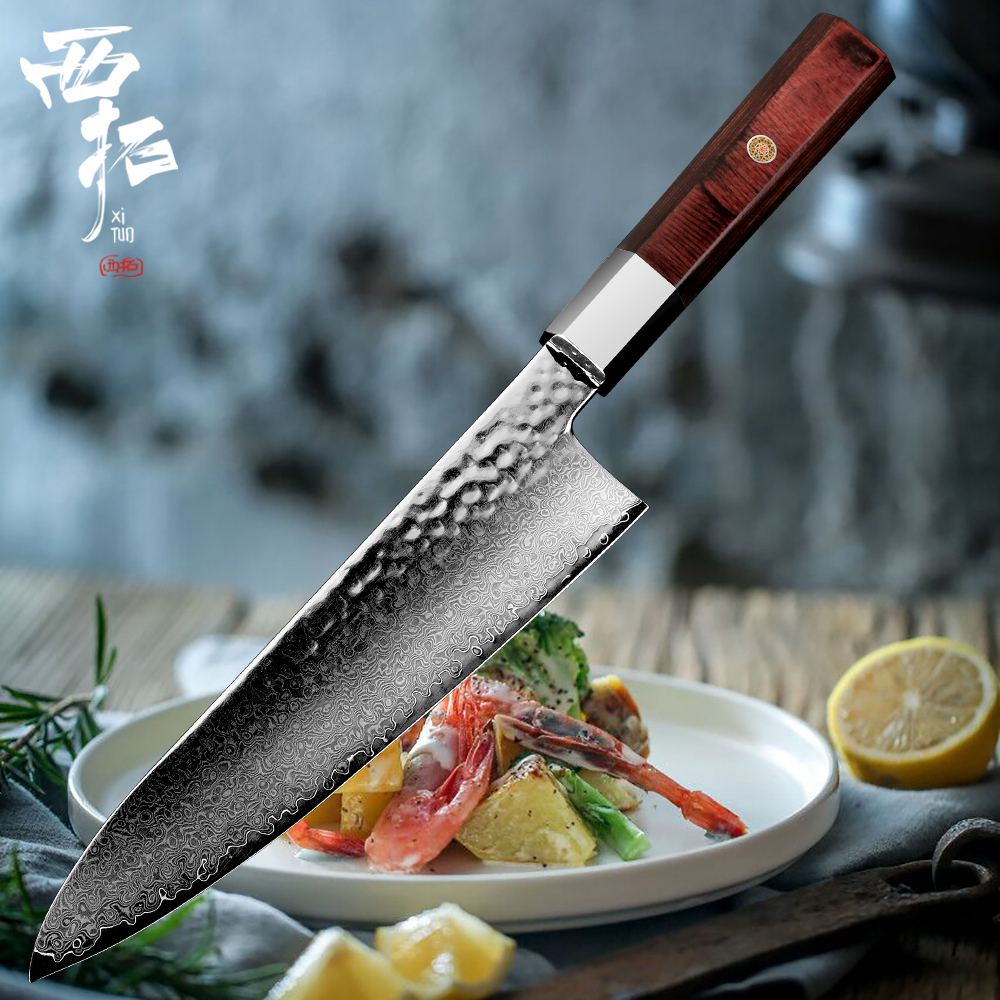 XITUO 8 Damascus forged steel chef knife nonstick Gyutou Utility cutting cleaver fashion plum nail handle